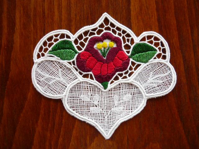 Kalocsai riselt alátét szív 13x10 cm