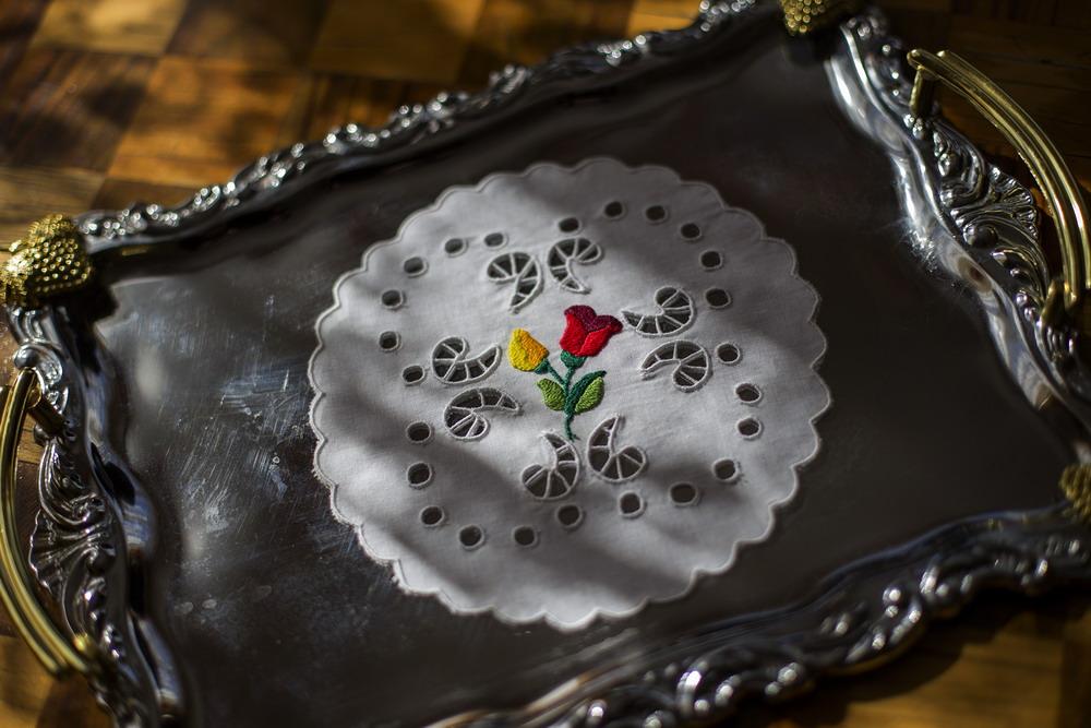 Madeirás hímzett alátét 20 cm kör